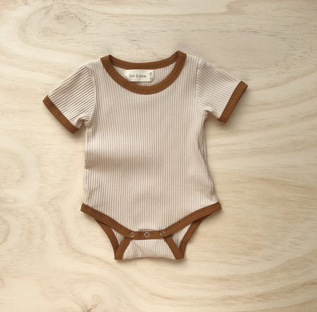 Retro Ringer Ribbed Bodysuit - Light Oatmeal by bel & bow