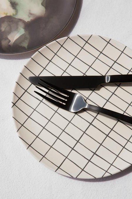White Grid Bamboo Plate by Nuukk