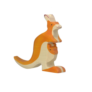 Kangaroo with young Wooden Figure by Holztiger