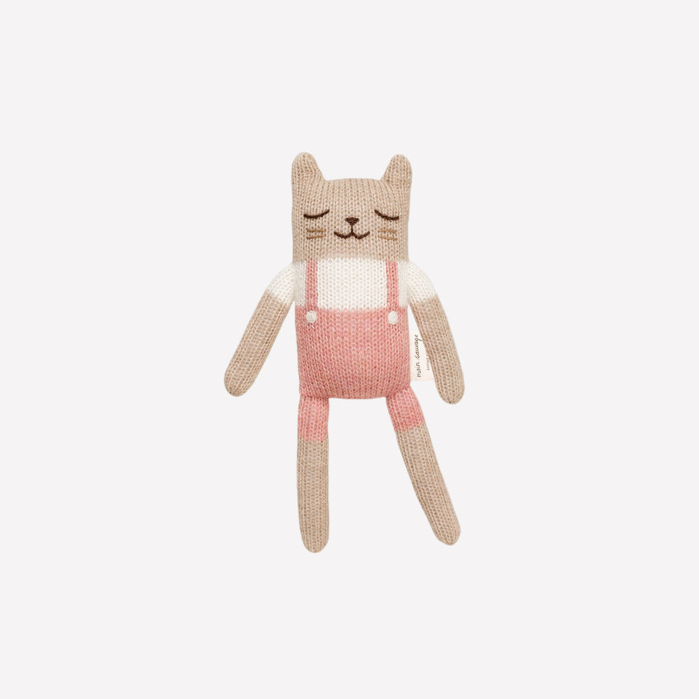 Kitten Knitted Toy in Rose Overalls
