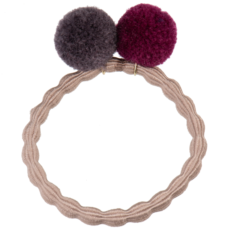 Kknekki Dove Hair Tie with Muldvarp and Wine Pom Pom by Bon Dep