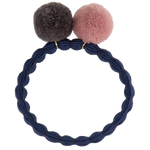 Kknekki Navy Hair Tie with Muldvarp and Dusty Pink Pom Pom by Bon Dep
