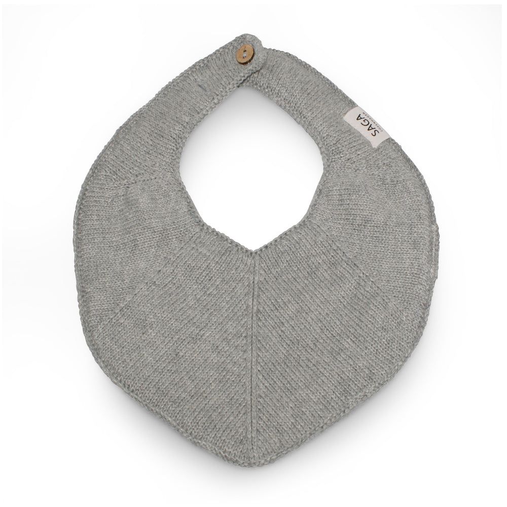 Organic Cotton Knitted Bib | Grey Mélange