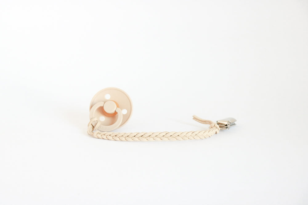 Vegan Leather Braided Pacifier Clip 3mm By Oh Dubidu