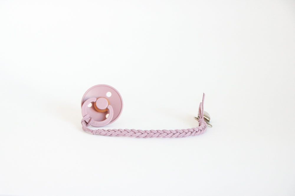Load image into Gallery viewer, Vegan Leather Braided Pacifier Clip 3mm By Oh Dubidu
