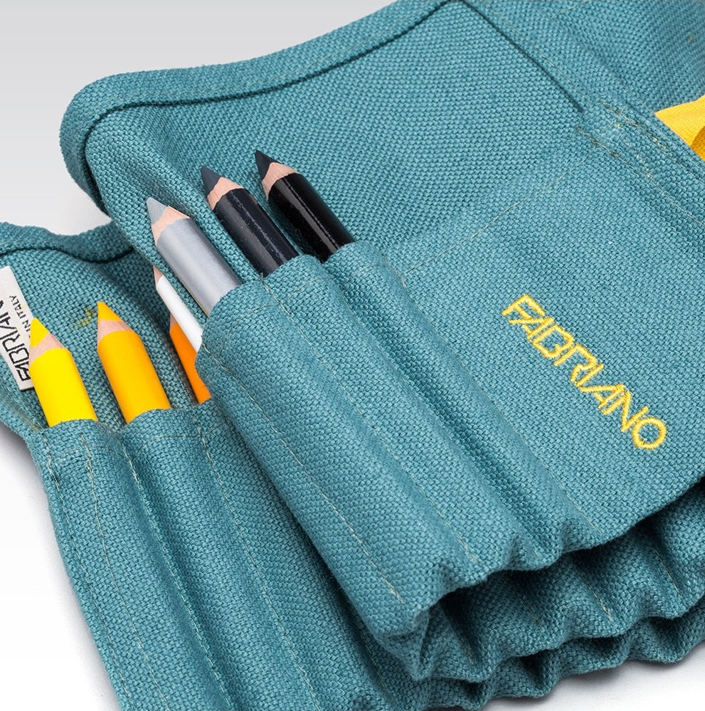 Linen Pencil Case with 24 Coloured Pencils - Acquamarine