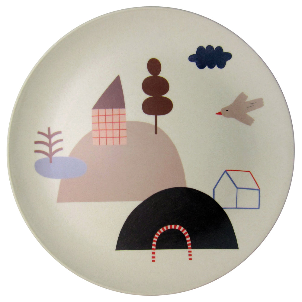 Happy Little Hills Bamboo Plate