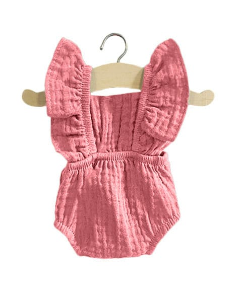 Load image into Gallery viewer, Lou Retro Double Gauze Romper | Rose for Minikane x Gordis Dolls