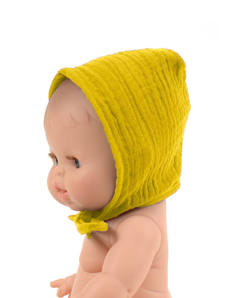 Load image into Gallery viewer, Round Bonnet Double Gauze Cotton in Mustard for Gordis Dolls by Minikane