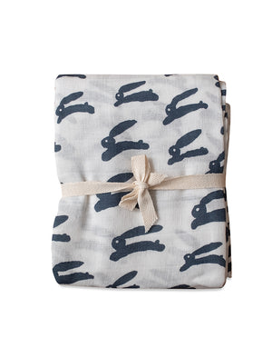 Load image into Gallery viewer, 100% Organic Rabbit Muslin Blanket, White/Night Blue by Fine Little Day
