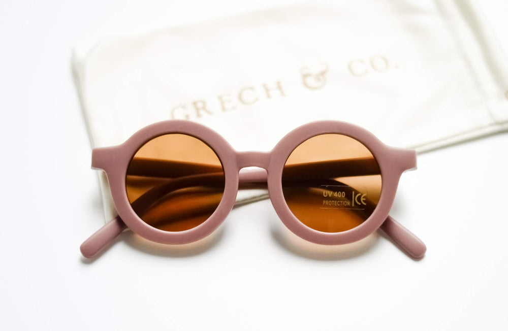 Sustainable Kids Sunglasses with Matte Finish in Burlwood by Grech & Co.
