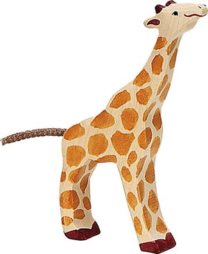 Load image into Gallery viewer, Small Feeding Giraffe Wooden Figure by Holztiger