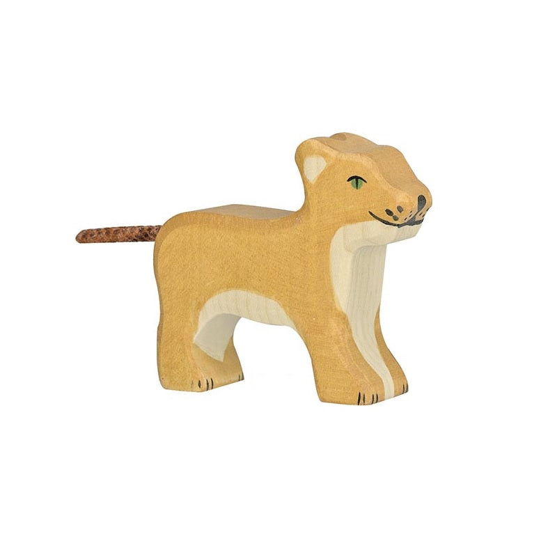 Small Standing Lion Wooden Figure by Holztiger