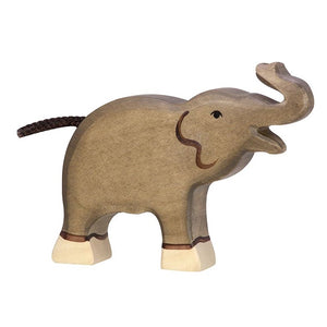 Small Trunk Raised Elephant Wooden Figure by Holztiger