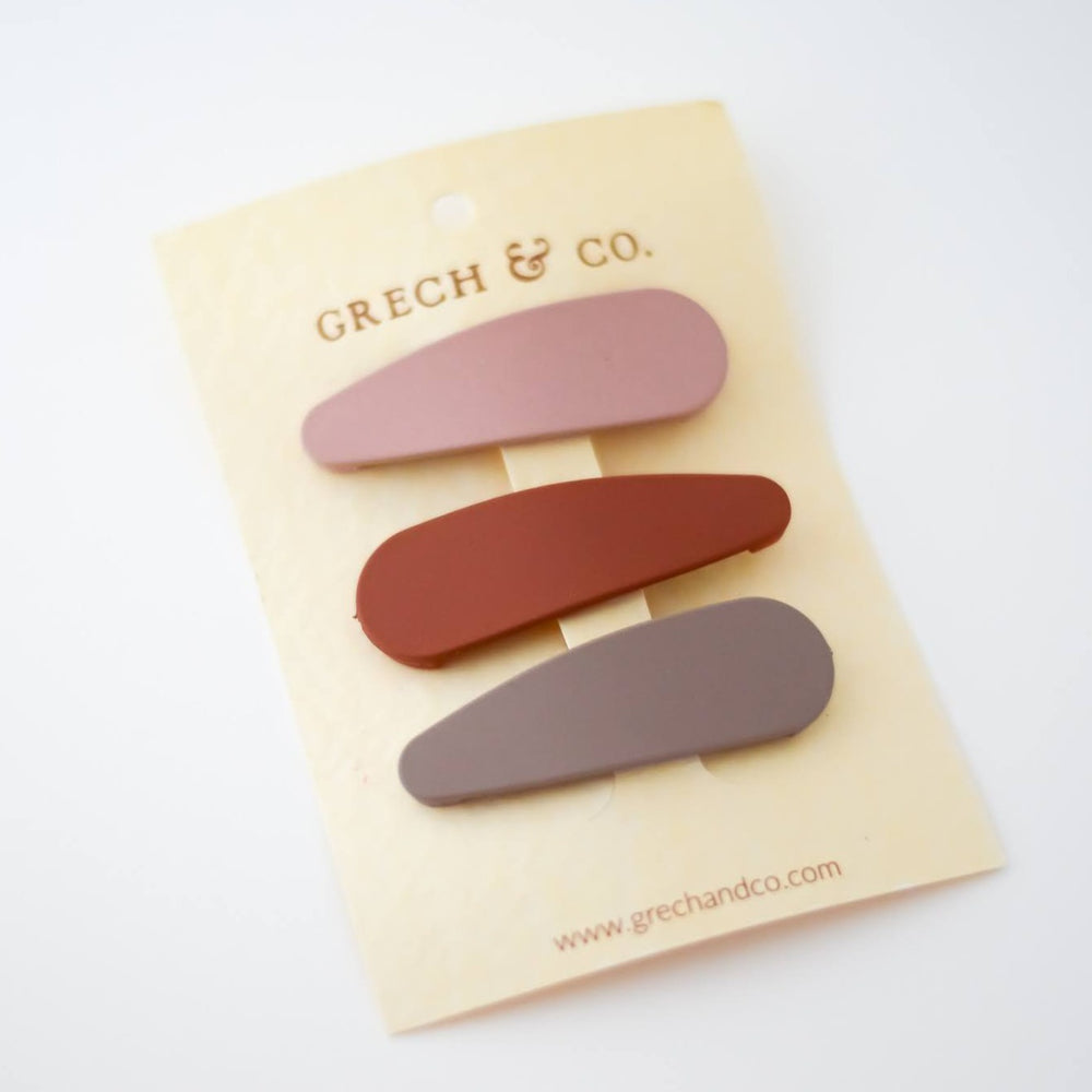 Snap Matte Clip Set of 3 - Stone, Shell, Rust by Grech & Co.