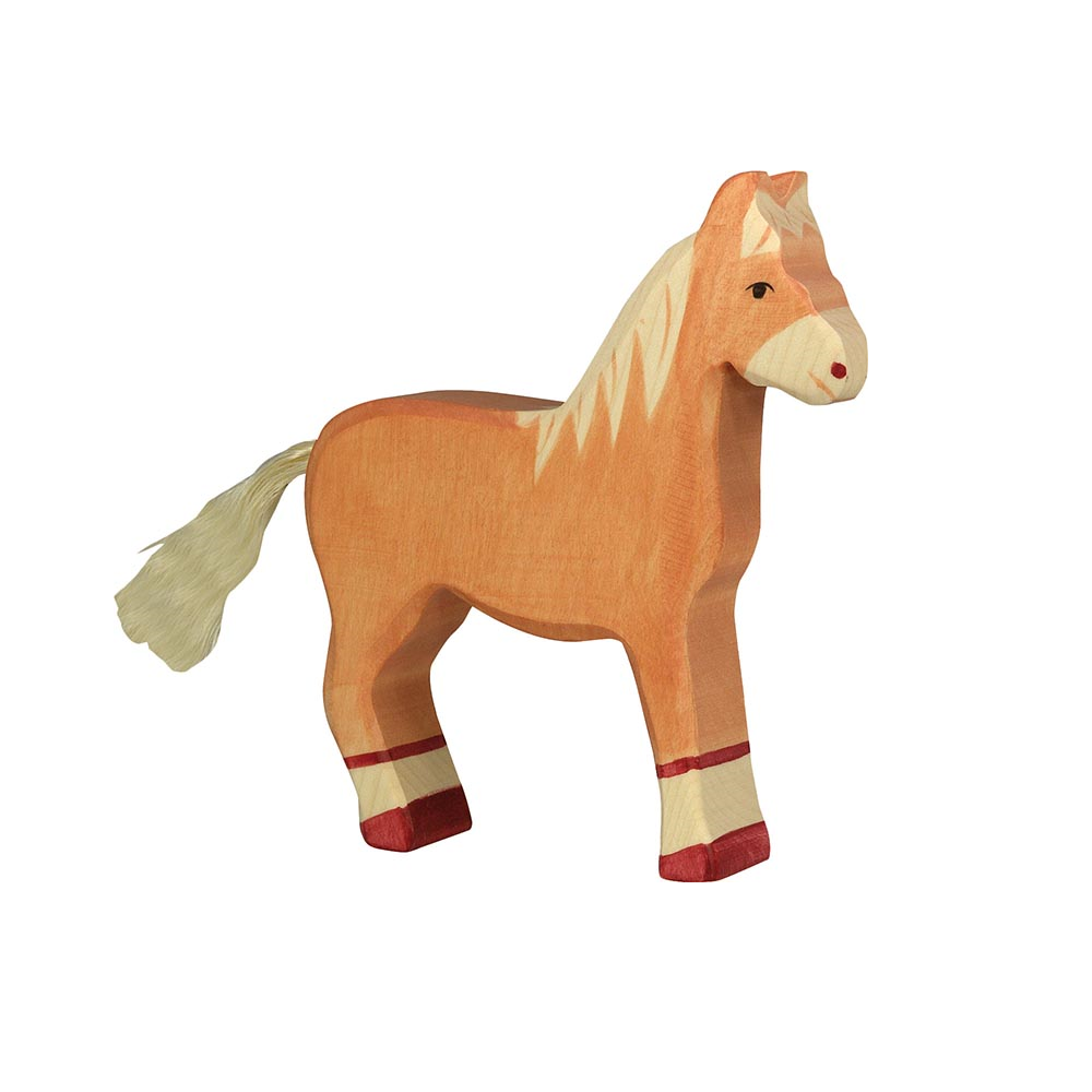 Standing Light Brown Horse Wooden Figure by Holztiger