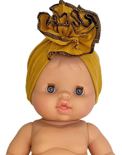 Load image into Gallery viewer, Mustard Flower Jersey Turban for Gordis Dolls