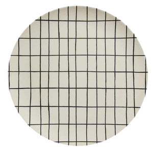 White Grid Bamboo Plate