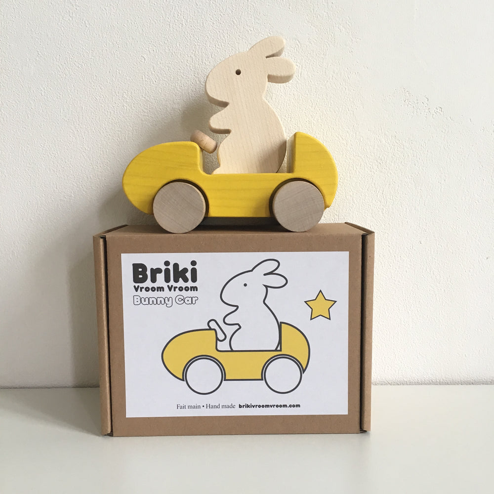 Wooden Runny Push Toy Car in Yellow by Briki Vroom Vroom
