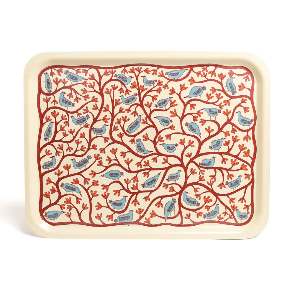 Tree and Bird Illustrated Tray in Cream by Mia Nilsson