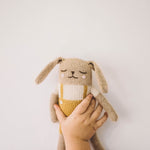 Bunny Knitted Toy in Ochre Overalls