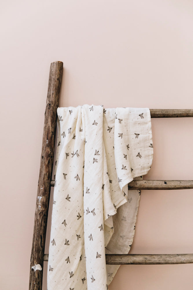 Coming Soon | Pigeons Muslin Swaddle Blanket by Main Sauvage