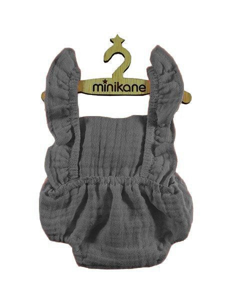 Lou Retro Romper Double Gauze Cotton in Gray for Gordis Dolls by Minikane