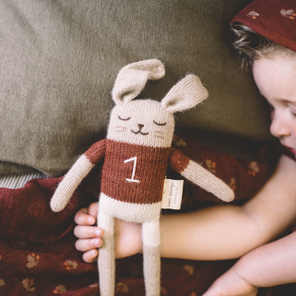 Bunny Knitted Toy in Sienna T-shirt