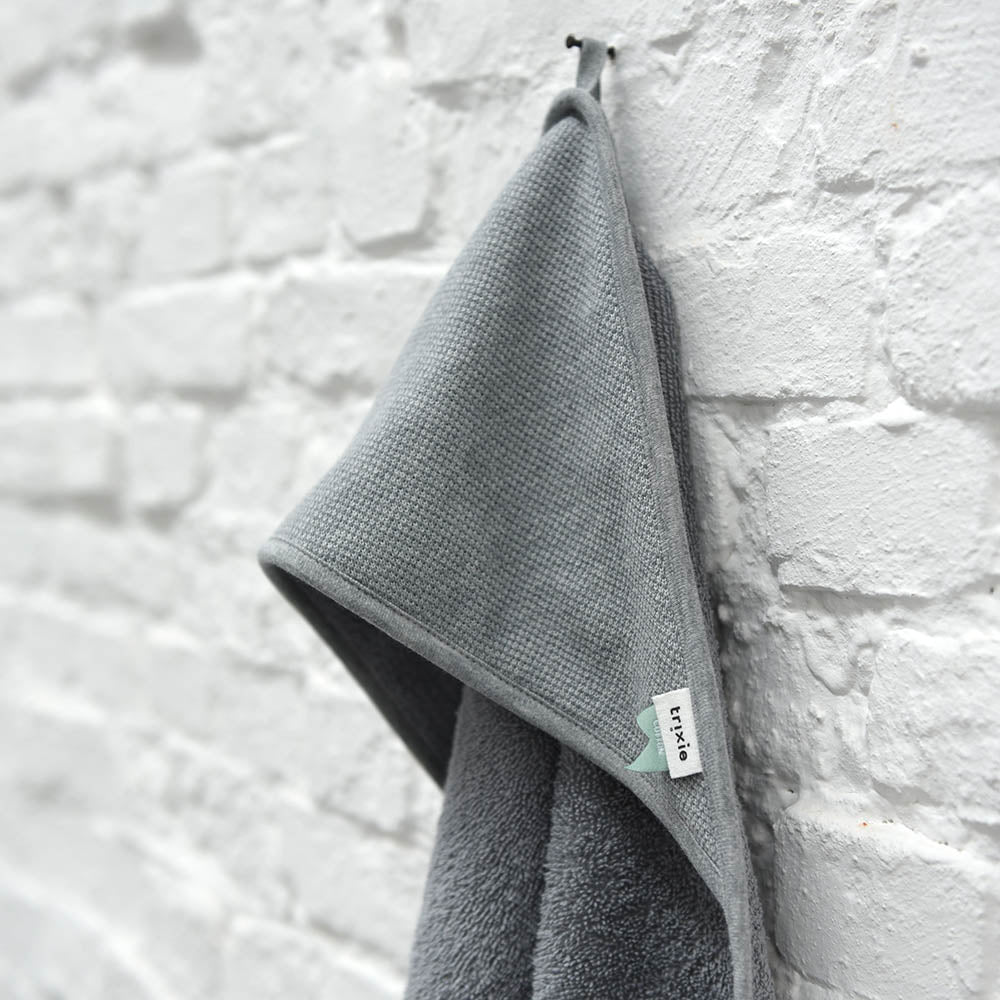 Load image into Gallery viewer, Organic Cotton Hooded Towel in Grain Grey by Trixie