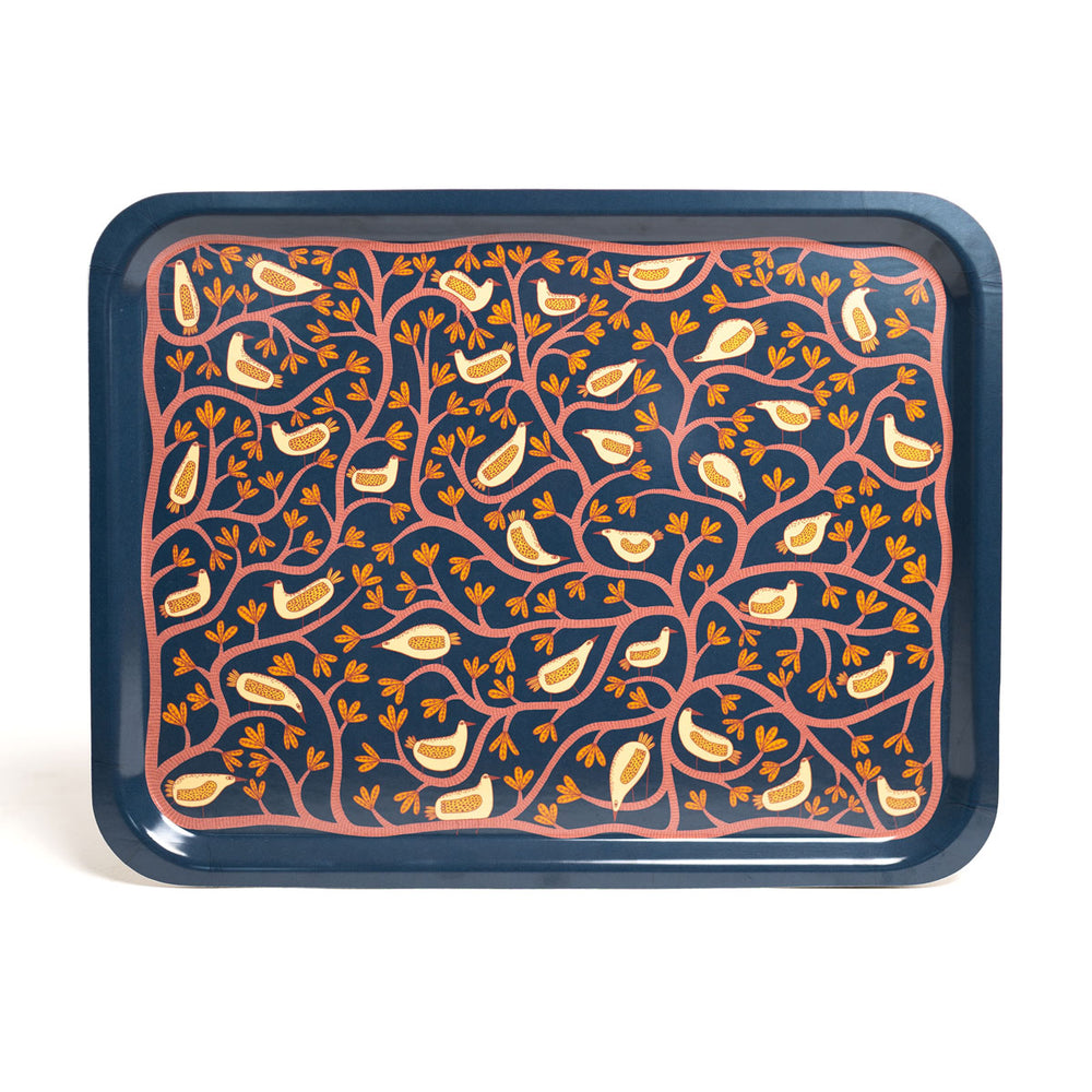 Tree and Bird Illustrated Tray in Navy by Mia Nilsson
