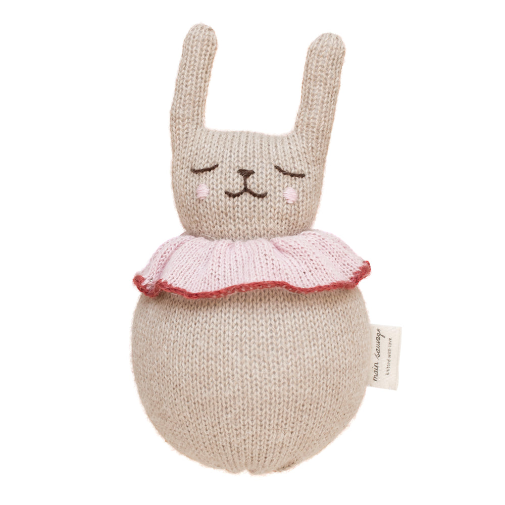 Load image into Gallery viewer, Roly Poly Rabbit Knitted Soft Toy in Beige with Rose Ruff