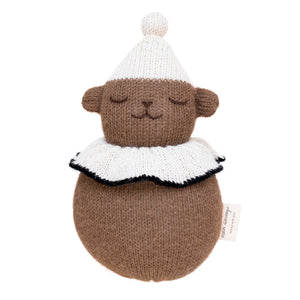 Roly Poly Teddy Knitted Soft Toy in Brown with White Ruff