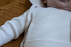 Double Cotton Ribbed Bodysuit in Milk by MOUMOUT
