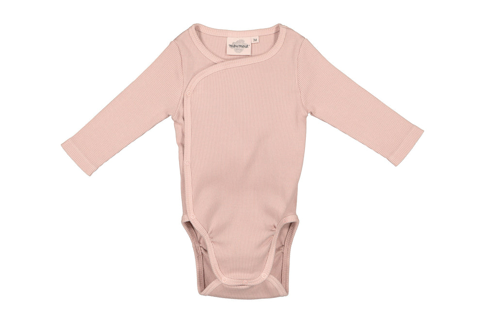 Double Cotton Ribbed Bodysuit in Blush by MOUMOUT
