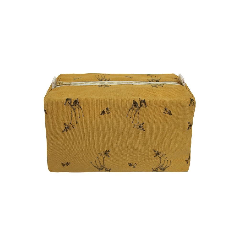 Fawn Printed Wash Bag in Brown Sugar by Rose in April