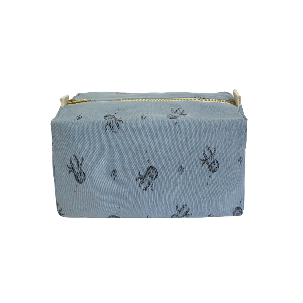 Octopus Printed Wash Bag in Gray Blue by Rose in April