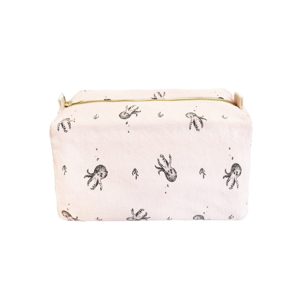 Octopus Printed Wash Bag in Light Pink by Rose in April