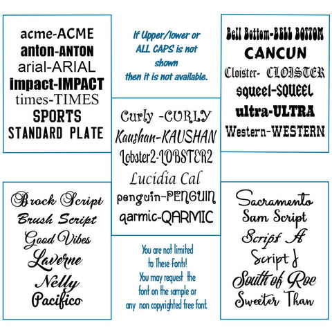 commonly requested fonts