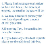 Instructions to request you keep your personalization to 3-4 short text lines