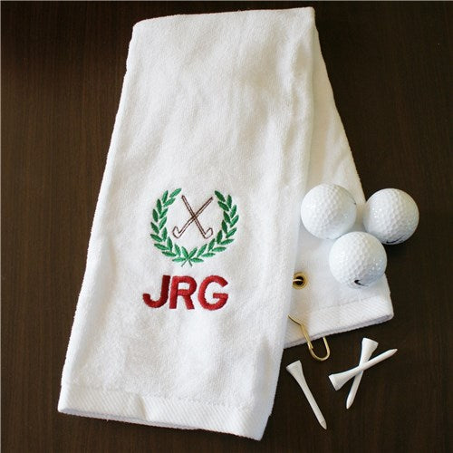 Monogrammed Golf Towel with up to 3 initials in burgundy thread  crossed golf clubs and green wreath above initials