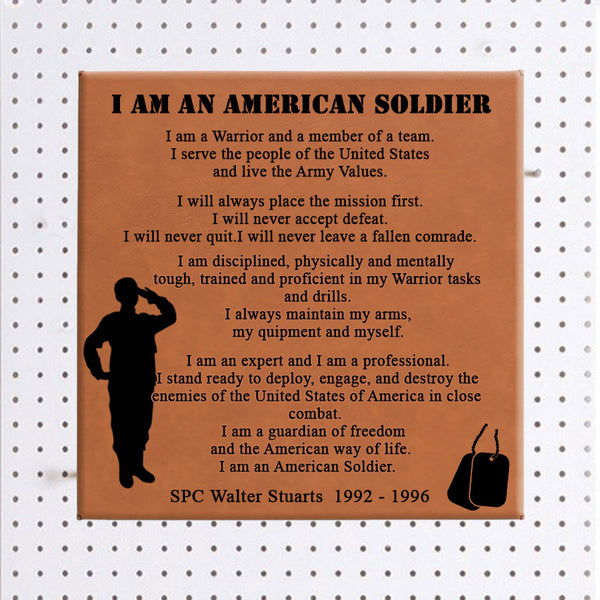 Soldier's Creed on a Vegan Leather Wall Sign Personalized with any name and date