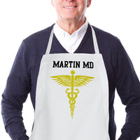 custom caduceus symbol and any personalization on a cooking apron