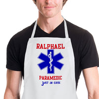 Custom Paramedic's cross in blue with rod of acephalous and any text above or below.