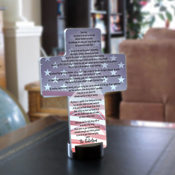 Army Spouse Prayer Personalized Desk Cross Keepsake