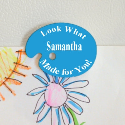 art palette fridge magnet with blue background or any color stating look what your child's name made for you/