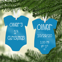 Baby Boy Body Suit First Christmas Ornament With Birth Info  - Name, Date, Time, Weight and Height