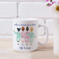 Bachelorette Party Coffee Mugs with rear view of Bride, maid of honor and two bridesmaids in bathrobes. Personalized with names and custom text.