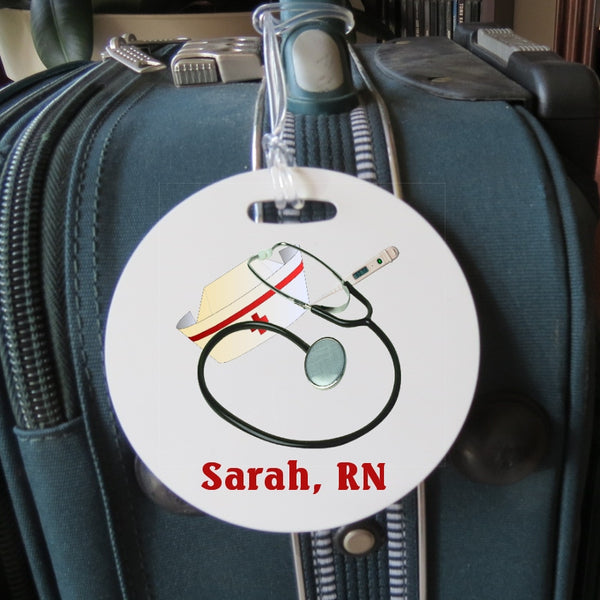 Nurse tools on round bag tag