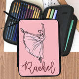 personalized pencil case folder with zippered compartments. Custom Ballerina design and any name personalized.