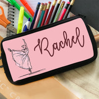 Elegant Ballerina illustration with any personalized name on a zippered pencil case pouch.